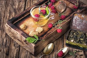 Herbal tea with raspberries