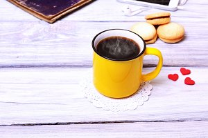 Coffee in a yellow mug