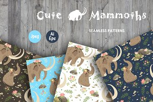 Cute Mammoths. Seamless patterns
