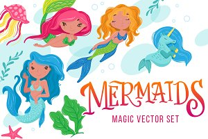 Mermaids - magic vector set