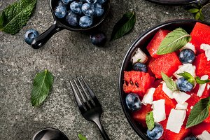 Watermelon salad with feta&blueberry