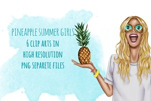 Pineapple Girls clip art set