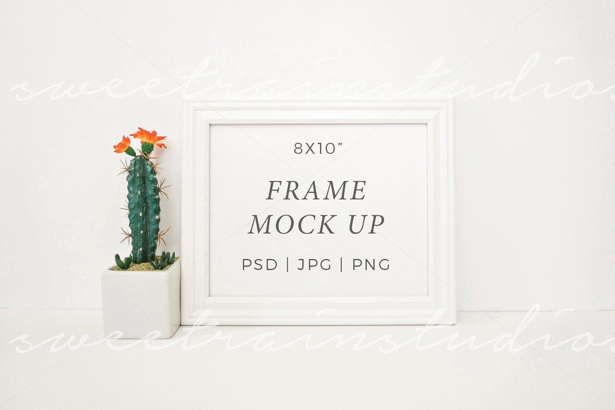 b49fe87d0882 White Frame Mockup-Horizontal 8x10 ~ Print Mockups ~ Creative Market