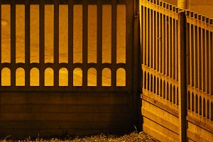 concrete fence at night