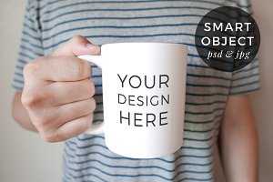 Coffee Mug Mockup, Man Holding