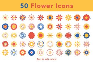 50 Vector Flower Icons
