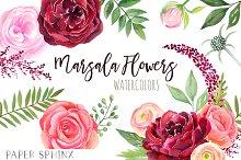Watercolor Marsala Flowers Clipart