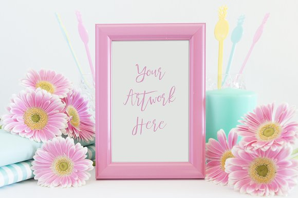 Pink Yellow And Mint Frame Mockup