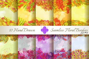 10 Floral Seamless Borders. Set#6