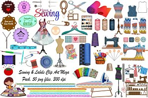 Sewing & Labels MegaPack ClipArt