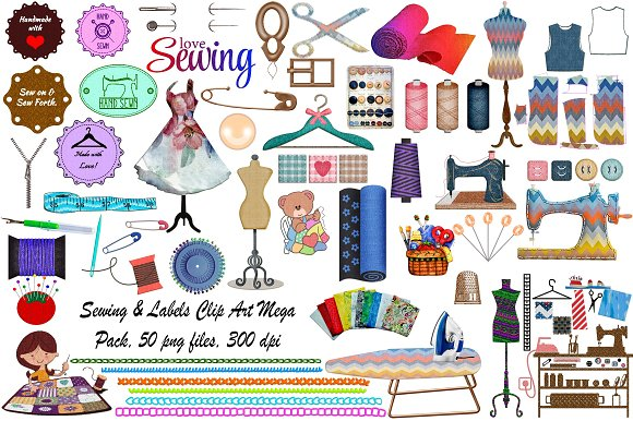 Sewing Labels MegaPack ClipArt