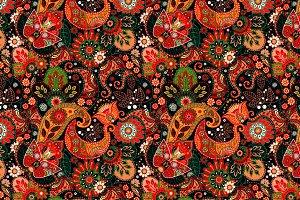 Floral pattern. Jeans texture