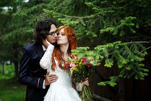Happy boho wedding couple