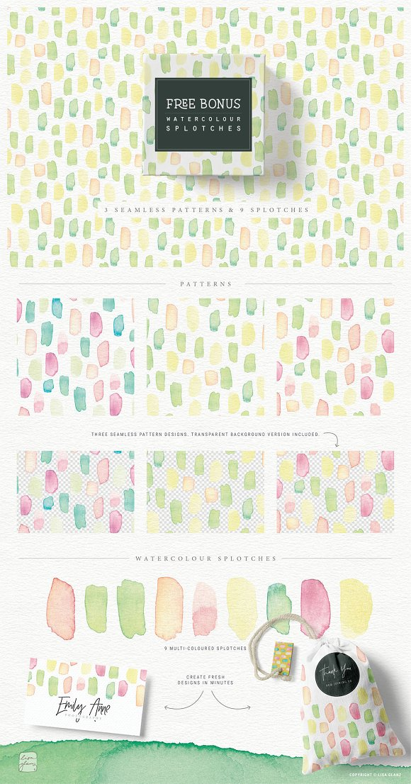 4in1 Elegant Watercolour collections in Illustrations - product preview 6