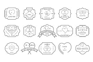 85 Valentine Badges and Labels