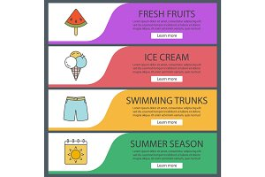 Summer web banner templates set