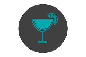 Margarita cocktail glyph color icon
