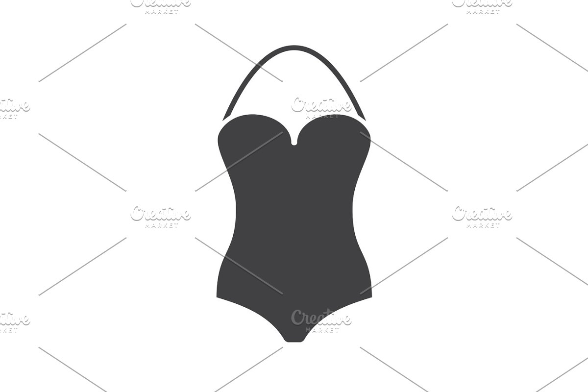 212ae9f56f Swimsuit glyph icon ~ Icons ~ Creative Market