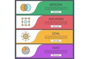 Abstract symbols web banner templates set