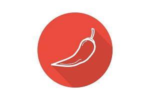 Red hot chili pepper. Flat linear long shadow icon