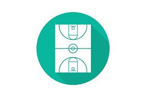 Basketball court flat design long shadow glyph icon
