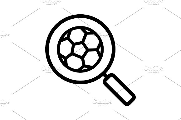 Magnifying Glass With Soccer Ball Linear Icon