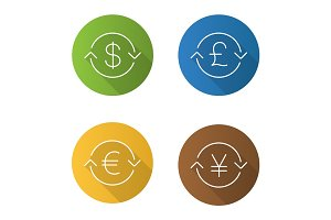 Money exchange flat linear long shadow icons set