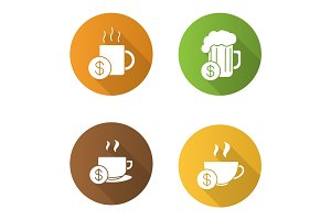 Buy drinks flat design long shadow glyph icons set