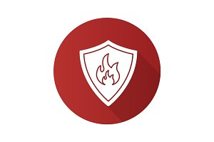 Firefighters badge flat design long shadow glyph icon