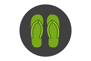 Flip flops glyph color icon