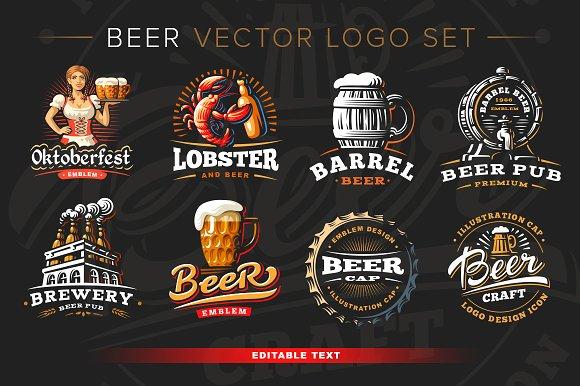 Beer Logo Set Mockup