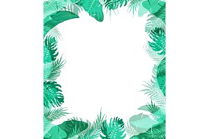 Cute frame with summer tropical leaves