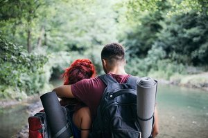 Camping couple in nature