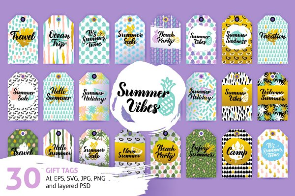 Summer Gift Tag Pre Designed Photoshop Graphics Creative Market