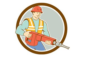 Construction Worker Jackhammer Circl
