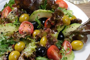 Salad    avocado, olives, tomatoes