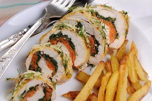 Chicken breast roll with spinach