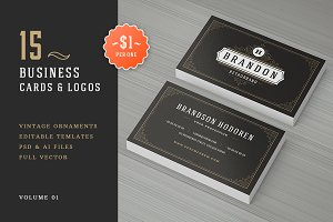 15 Ornaments Business Cards Bundle