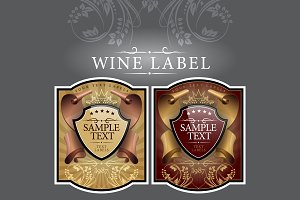 Wine label with a gold ribbon