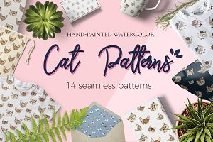 Cat Watercolor Patterns