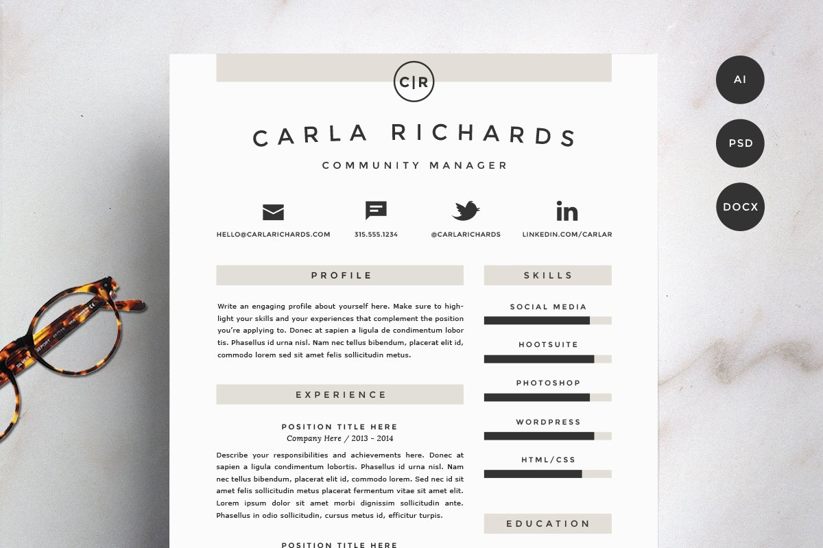 resume template 4 pack cv template - Resume Header Template