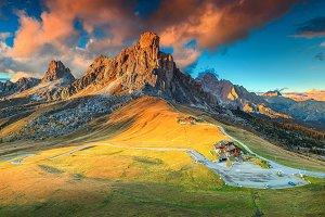 Fantastic alpine pass with sunset