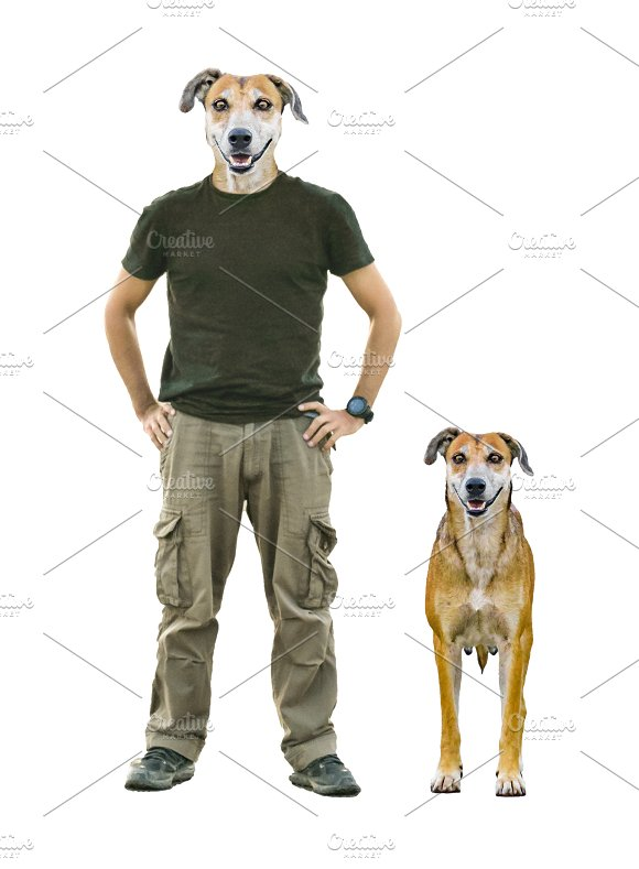 Man With Dog Head And Pet