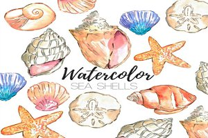 Watercolor Nautical Seashells