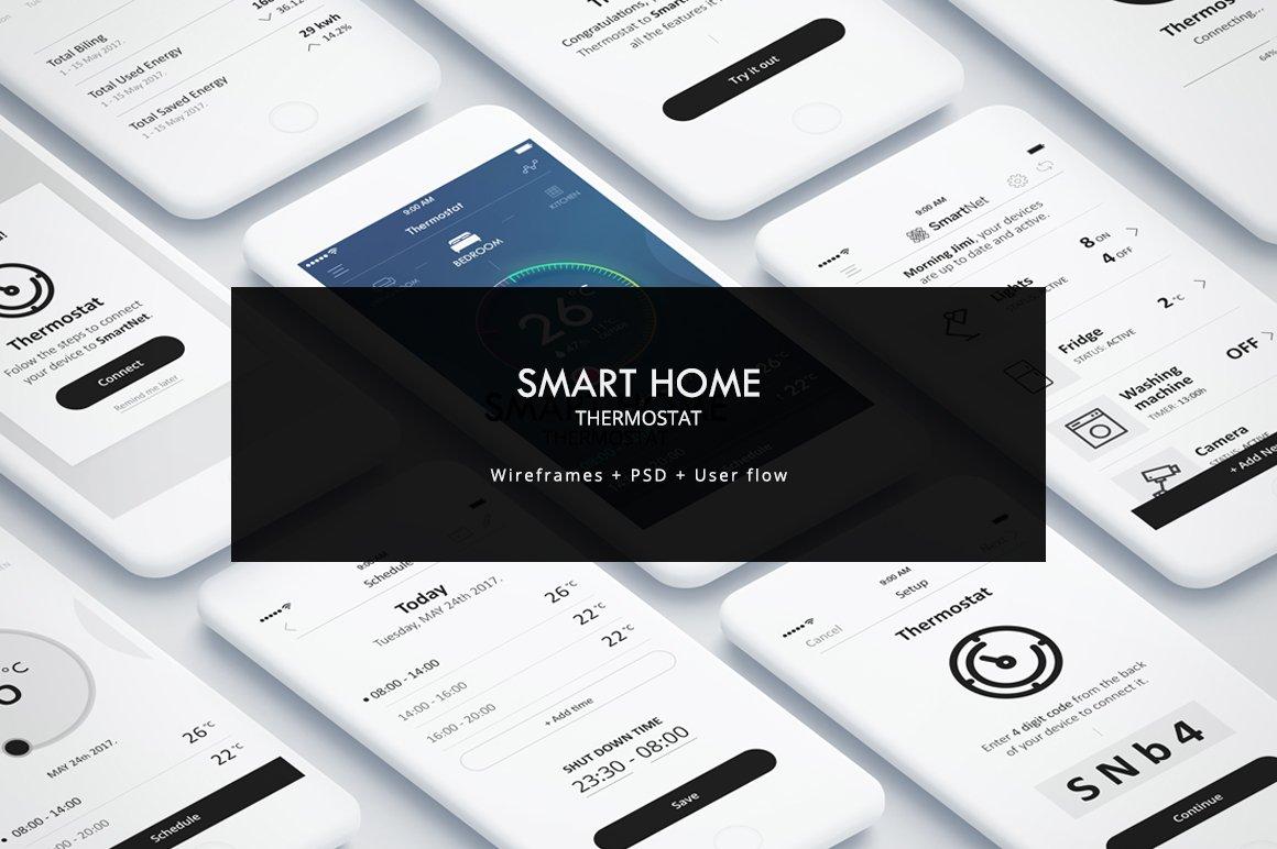 smart home mobile app ui ux web elements creative market. Black Bedroom Furniture Sets. Home Design Ideas