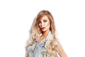 girl with long wavy hair