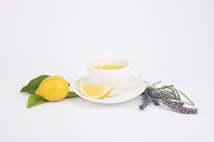 Fresh tea with lemon and lavender