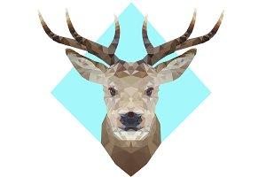 Low poly deer t-shirt print