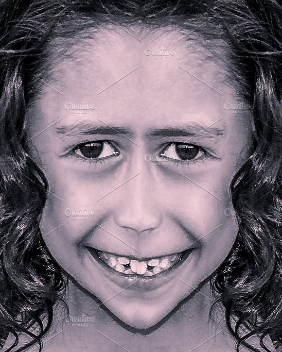 Manipulated Kid Girl Face Portrait