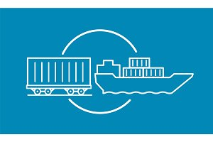 Container delivery by rail and water transport on barge icon. Shipping delivery transportation logistics.